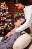 Loving couple bonding to each other on Christmas — Stock Photo