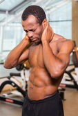 Frustrated young African man in gym — Stock Photo