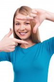 Woman gesturing finger frame — Stock Photo