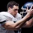 American football player holding helmet — Stock Photo #62614575