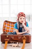 Little boy in pilot headwear and eyeglasses — Stock Photo