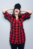 Woman in headwear posing — Stock Photo