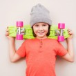 Little boy holding colorful skateboard — Stock Photo #67522455
