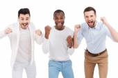 Men in smart casual wear expressing positivity — Stock Photo