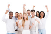 Happy young people in smart  wear — Stock Photo