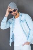 Young man in eyewear and headwear — Stock Photo