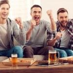 Men watching football game — Stok fotoğraf #73022273