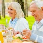Senior couple enjoying meal outdoors — Stock Photo #74728973