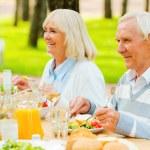 Senior couple enjoying meal  outdoors — Stock Photo #74728985