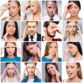 Collage of people suffering from different pains — Stock Photo