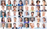 Collage of diverse multi-ethnic people — Stock Photo