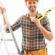 Manual worker holding hand on ladder — Stock Photo #77454346