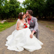 Bride and Groom Sitting Portrait Outdoors — Stock Photo #56509167