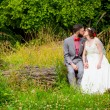 Bride and Groom Sitting Portrait Outdoors — Stock Photo #56509381