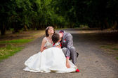 Exhausted Bride and Groom — Stock Photo