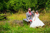 Bride and Groom Sitting Portrait Outdoors — Stock Photo