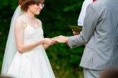 Bride and Groom Ring Exchange Ceremony — Fotografia Stock