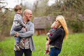 Family Lifestyle Portrait Outdoors — Stock Photo