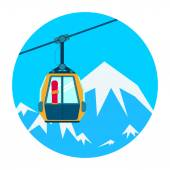 Ski lift. Vector illustration. — Stock Vector