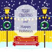 Christmas illustration with bench, lights, wreaths, drifts, snowflakes, inscription Merry Christmas and Happy holidays. — Stock Vector