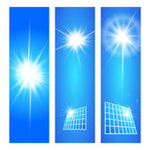 Vector illustration of a banner with a picture of the solar cell and the sun on the sky background. — Stock Vector