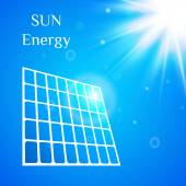 Vector illustration with the image of solar panels and sun on the sky background. — Stock Vector