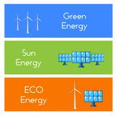 Vector illustration of a banner with green energy. Wind turbines, hydroelectric power, solar panels, power, nature. — Stock Vector
