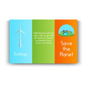 Vector illustration  booklet with green energy. Wind turbines, hydroelectric power, solar panels, power, nature. — Stock Vector