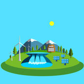 Vector illustration  with green energy. Wind turbines, hydroelectric power, solar panels, power, nature. — Stock Vector