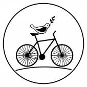 Bird on a bike with a sprig in its beak. — Stock Vector