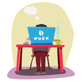 Freelancer. A man working at a computer. Vector illustration. — Stock Vector