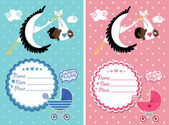 Baby shower invitation with new born baby — Stock Photo
