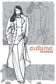 Fashion girl in sketch style — Photo