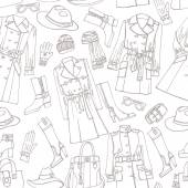 Fashion wear seamless pattern. Outline woman clothes — Stock Photo