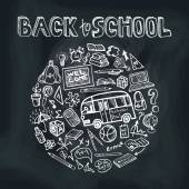 Back to School Supplies Sketchy chalkboard.Circle Doodles — Stock Photo