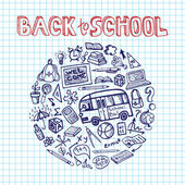 Back to School Supplies Sketchy notepaper.Circle Doodles — Stock Photo