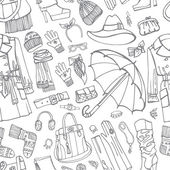 Coat and clothing accessories in seamless pattern. — Stock Photo