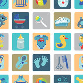 Newborn Baby boy set.Flat Icons with long shadow — Stock Photo