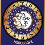 Постер, плакат: All zodiac sign in Horoscope circle Sun and Moon Retro