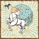 Aries  zodiac sign.Vintage Horoscope card — Stock Photo #54593817