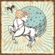 Постер, плакат: Aries zodiac sign Vintage Horoscope card