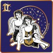 Horoscope.Gemini zodiac sign with boys twins — Stock Photo #54593885