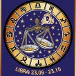 Libra zodiac sign.Horoscope circle.Retro Illustration — Stock Photo #54593937