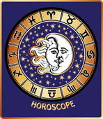 All zodiac sign in Horoscope circle.Sun and Moon.Retro — Stock Photo