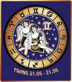 Twins boys zodiac sign.Horoscope circle.Retro Illustration — Stock Photo