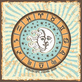 All zodiac sign in Horoscope circle.Vintage Horoscope card — Zdjęcie stockowe