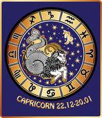 Capricorn zodiac sign.Horoscope circle.Retro — Stock Photo