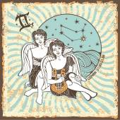 Gemini boys zodiac sign.Vintage Horoscope card — Zdjęcie stockowe