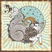 Capricorn zodiac sign.Vintage Horoscope card — Stock Photo