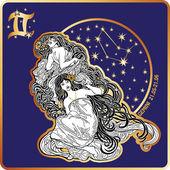 Horoscope.Gemini zodiac sign with womans twins — Stock Photo